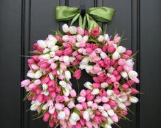 Spring Wreaths Tulips Farmhouse Door Wreaths by twoinspireyou
