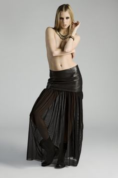 Vana versatile leather skirt with maxi length mesh. #convertible #skirt #leather #mesh #FW12 #BodChristensen