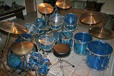 Nice set of double-bass blue Ludwig Vistalites. Lots of toms! Diy Drums, Drums Art, Female Drummer, Grim Reaper Art, Ludwig Drums, Vintage Drums, Metal Drum, Drum Machine, Double Bass