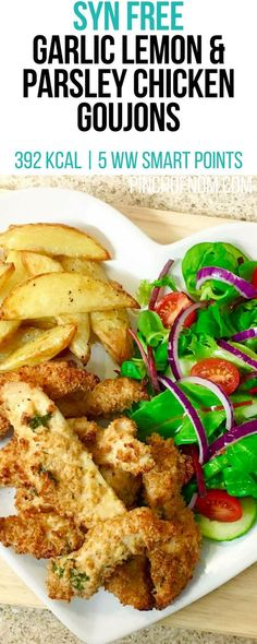 Syn Free Garlic Lemon and Parsley Chicken Goujons | Pinch Of Nom Slimming World Recipes 392 kcal | Syn Free | 5 Weight Watchers Smart Points Slimming World Free, Slimming World Dinners, Slimming World Recipes Syn Free, Slimming Eats, Slimming World Lunch Ideas, Slimming Word, Slimming World Chicken Recipes, Chicken Goujons, Syn Free Food