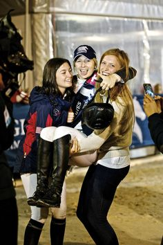 Lucy Davis is scooped up by fellow US riders Reed Kessler and Saer Coulter before entering the ring for the prize giving of the 2013 Longines Global Champions Tour Grand Prix of Lausanne Equestrian Girls, Equestrian Outfits, Equestrian Style, Equestrian Boots, Lucy Davis, Best Bud, Show Jumping, Horse Girl, Show Horses