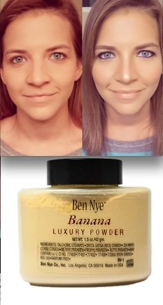 """FINALLY found my holy grail concealer, powder, foundation beauty product! Ben Nye Powder in Banana is the BEST product for dark under eye circles, uneven skin tones and for people like me who want to lightly contour your face with little to no effort and time. $12-28 dollars, lasts a life time. Use a flat powder brush, dab on your T zone under eyes, let sit for 5 minutes and brush outwards and blend. don't let the yellow color fool you- it works for all skin tones"""