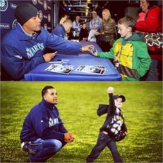 My Son Grayson getting an autographed ball from a hero super hero! From one #superhero to another. #MarinersFF #Mariners #Hero