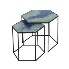 Cobalt Mist Organic side table set - by Notre Monde