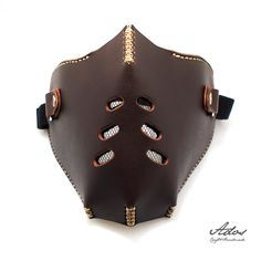 Biker Motorcycle Men Half Face Mask Masquerade by AdosLeather