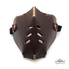 Biker Motorcycle Men Half Face Mask Masquerade by AdosLeather