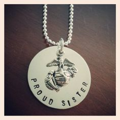 I have to get this!! Support your favorite troops with the Proud Sister United States Marine Corps Hand Stamped Sterling Silver Necklace by JMPaperieAndGifts, $49.95
