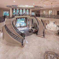 Mansion houses, mansion bedroom, dream mansion, luxury homes dream Dream Home Design, My Dream Home, Home Interior Design, Luxury Interior, Kitchen Interior, Interior Decorating, Modern Mansion Interior, Kitchen Decor, Stairway Decorating