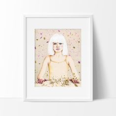"Fine Art Print, ""Crystal Heart, Glitter Mind"" - Illustration Print, Pencil Drawing, Sia, Maddie Ziegler,"