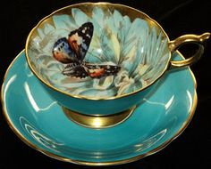 Aynsley ~ butterfly tea cup and saucer.enjoying a cup of tea w/an old friend this afternoon. Vintage Cups, Vintage China, Antique Tea Cups, Cuppa Tea, China Tea Cups, China Mugs, Teapots And Cups, My Cup Of Tea, Tea Cup Set