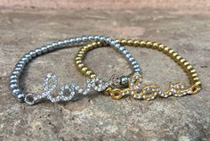 """love"" Relationship/friendship Bracelet Set - Couples Bracelets - Gold And Silver His/hers Set - Elastic Band Fit Fit Couples, Couple Bracelets, Beautiful Love, Relationships Love, Bracelet Set, Friendship Bracelets, Beaded Bracelets, Unique Jewelry, Handmade Gifts"