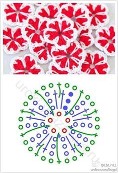 Flowers crochet chart ✿⊱╮Teresa Restegui http://www.pinterest.com/teretegui/✿⊱╮