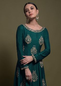 Teal Anarkali Suit In Silk With Zardozi And Cut Dana Embroidered Leaf Motifs Online - Kalki Fashion Lehenga Style Saree, Anarkali Suits, Kurti Embroidery Design, Embroidery Motifs, 1920s Dress, Flapper Dresses, Beautiful Dress Designs, Embroidered Leaves, Edwardian Fashion