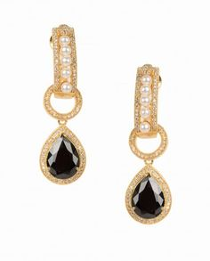 Pearl and Zircon Earrings with Black Stone Drop