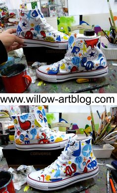 Pop Converse handpainted by Willow