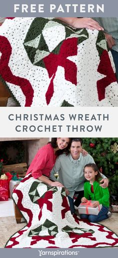 Free Christmas Wreath Throw crochet pattern using Red Heart Super Saver yarn. Showcase your crochet abilities with this wonderful Christmas blanket! Your family will love having this festive throw as part of their holiday decorating tradition. #Yarnspirations #FreeCrochetPattern #CrochetAfghan #CrochetThrow #CrochetBlanket #ChristmasDIY #RedHeart #RedHeartSuperSaver