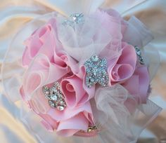 Items similar to Wedding Bride Blush Pink Brooch Bouquet Handmade Rosettes, Rhinestone Brooch, Organza, Satin on Etsy Country Wedding Bouquets, Wedding Country, Brooch Bouquets, Wedding Bride, Wedding Ideas, Rosettes, Bridal Accessories, Country Decor, Fabric Flowers