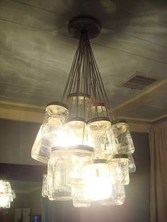 Mason jar chandelier #masonjars #lighting