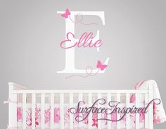 Wall Decal Baby Name Decal With Butterflies - 1021 on Etsy, $34.91