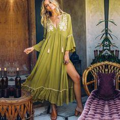 Boho Maxi Dress Cotton Floral Embroidery V-Neck Maxi Dress With Sleeves, Floral Maxi Dress, Boho Dress, Lace Dress, Boho Outfits, Fashion Outfits, Dress Fashion, Fashion Clothes, Fashion Fashion