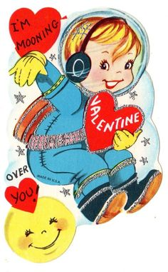 """SPACE ASTRONAUT FLIES OVER MAN IN THE MOON """"MOONING OVER YOU /VTG VALENTINE CARD"""