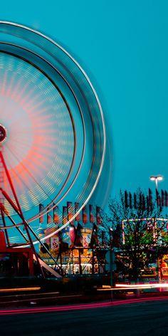 Light Of Life, Long Exposure, Bokeh, Ferris Wheel, Photo Art, Attraction, Fair Grounds, Neon, Fire
