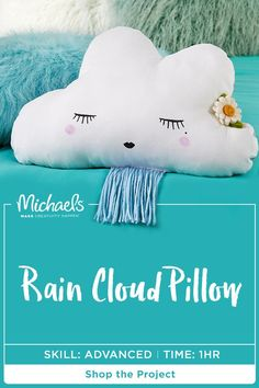 Rainy days are much more cozy when you have this adorable DIY to snuggle with. Accent your dorm room with a trendy rain cloud pillow by sewing together some materials and MAKE-ing it your own.  Find the complete how-to and shop all the products you need on the Michaels project page.