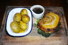 Lemon and thyme stuffed pork belly with Josper roasted garlicky baby spuds at Ye Olde Saracen's Head in Coventry http://womans-world.co.uk/index.php/food-a-drink-mainmenu-30/restaurant-reviews/1565-ye-olde-saracen-s-head-review-40834