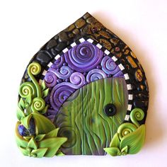 Green Fairy Door in Purple Swirl, Miniature Pixie Portal, Home and Garden Decor, Daydreaming Polymer Clay Door, Tooth Fairy Door by Claybykim on Etsy