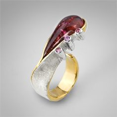 A modern beauty! Tourmaline and amethyst with gold--G Kabirski