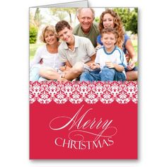 If you are looking for Holiday Cards, then this Elegant Photo Pink Damask Merry Christmas Greeting Card is perfect for you, and it's totally customizable!