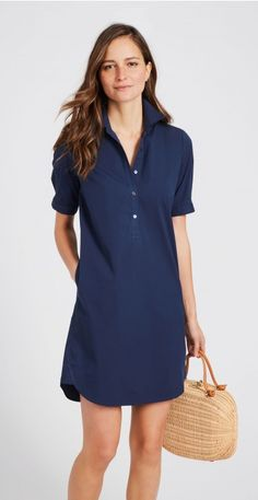 McLaughlin Arissa Tunic Dress in Demin Dress, Navy Dress Outfits, Preppy Outfits, Preppy Style, Casual Dresses, Summer Dresses, Tunic Dresses, Shirt Dress Pattern, J Mclaughlin