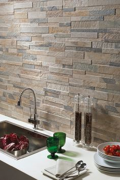 Cubics Ledger Stone Look Wall Tile 3d Wall Tiles, Wall Tiles Design, Kitchen Wall Tiles, Brick Interior, Interior Desing, Brick Tiles, Stone Tiles, Cashmere Kitchen, Small Cottage Kitchen