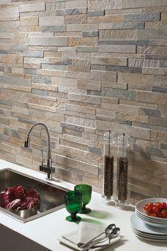 Cubics Ledger Stone Look Wall Tile 3d Wall Tiles, Wall Tiles Design, Kitchen Wall Tiles, Kitchen Tiles Design, Brick Tiles, Stone Tiles, Cashmere Kitchen, Tiles London, Nordic Kitchen