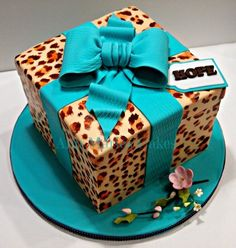 Cheetah and Teal gift box - by AnnMariesCakes @ CakesDecor.com - cake decorating website