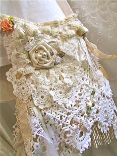 Victorian Cottage Bag, shabby and chic, white creme ivory wedding bag laces doilies beads buttons embellished, small shabby lace bag