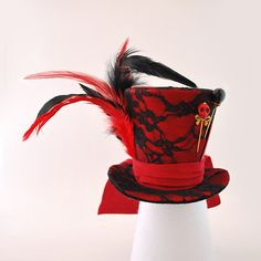 Red and Black Mad Hatter Hattea party by MiniTopHatBoutique, $37.00