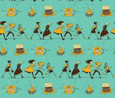 girls_blue-01-01 fabric by katja_saburova on Spoonflower - custom fabric