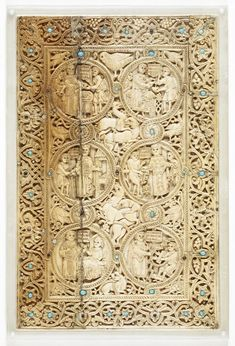 Ivory plaque from the lower binding, of the six vices and six works of charity, illustrating Matthew 25:35-36, from the Melisende Psalter, Eastern Mediterranean (Jerusalem), 1131-1143, Egerton MS 1139