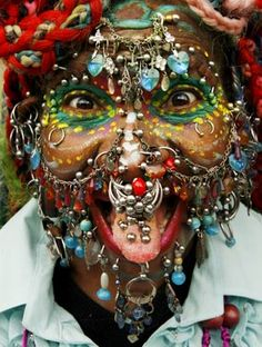 Guinness World Record for most extreme piercings.