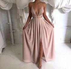 champagne champagne prom dress champagne dress blush pink plunge v neck sexy…