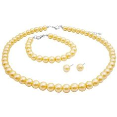 Yellow Pearl Necklace Set