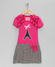 Take a look at this Million Polkadots Hot Pink Eiffel Tower Dress - Toddler & Girls by Million Polkadots on #zulily today!