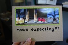 Fun pregnancy announcement idea by @Cristin Siegel - take photo of feet and baby shoes, post photo on Facebook and make cards for parents or grandparents