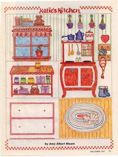 Kitchen - Katie's Kitchen (paper doll book) - by Amy Albert Bloom, 1992 (584×773) - this is on my list of pictures I'd like to fix up a bit, but since I could easily forget about it before I have time for this one, I thought I'd pin it now. ;)  There are dolls that go with this, but I didn't bother with those since it was the kitchen itself that drew my attention.