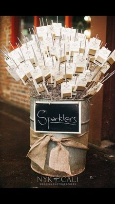 Have already made sparkler packets to put into a sand filled bucket