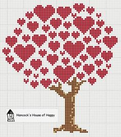 Cross Stitch Embroidery hancock's house of happy: Heart Tree Cross Stitch Chart for Valentines Cross Stitch Boards, Cross Stitch Tree, Cross Stitch Heart, Cross Stitch Alphabet, Cross Heart, Cross Stitch House, Cross Stitching, Cross Stitch Embroidery, Embroidery Patterns