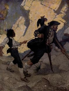 """The Hostage"" (Wyeth illustration)  - from TREASURE ISLAND by Robert Louis Stevenson. Teachers, you can make this book real and fun in straight-from-the-story ways! Hands-on projects, multisensory activities, academic handouts, talking points, and lots more -- all in one place. Get instant access to the LitWits Kit at https://litwits.com/treasure-island/   	#readforfunlearnforlife"