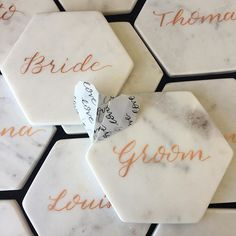 WEBSTA @ the_style_dispensary - Thanks to our friend @hardinghand for the gorgeous custom lettering on the marble place cards for the bridal table #love #TheStyleDispensary #weddings #MrandMrsChillico