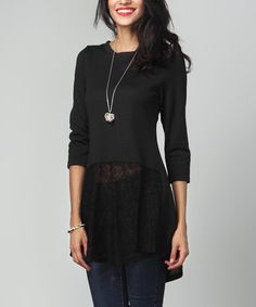 Another great find on #zulily! Black Lace Tunic #zulilyfinds